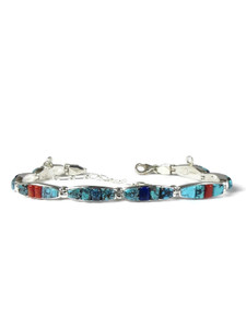 Turquoise, Lapis & Coral Inlay Link Bracelet (BR6347)