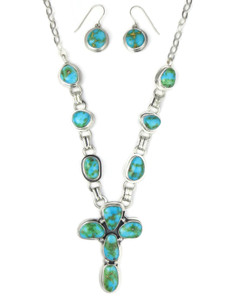 Sonoran Turquoise Cross Necklace Set by Lyle Piaso (NK4263)