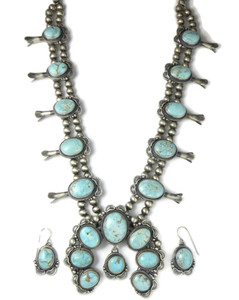 Dry Creek Turquoise Blossom Squash Blossom Necklace Set by Thomas Francisco (NK4266)