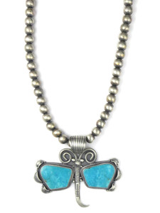 Kingman Turquoise Butterfly Necklace (NK4263)