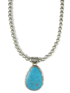 Kingman Turquoise Pendant Necklace by Phillip Sanchez (NK4270)