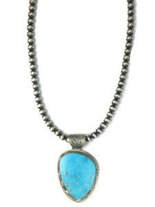 Kingman Turquoise Pendant Necklace by Phillip Sanchez (NK4271)