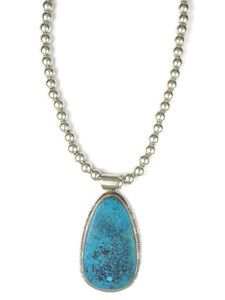 Large Kingman Turquoise Pendant Necklace by Phillip Sanchez (NK4272)