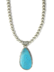 Kingman Turquoise Pendant Necklace by Phillip Sanchez (NK4273)