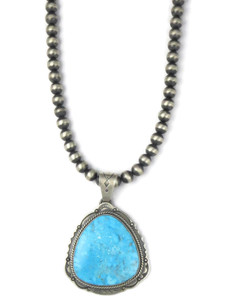 Kingman Turquoise Pendant Necklace by Joe Piaso Jr. (NK4274)