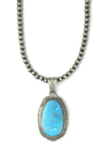 Kingman Turquoise Pendant Necklace by Joe Piaso Jr. (NK4275)