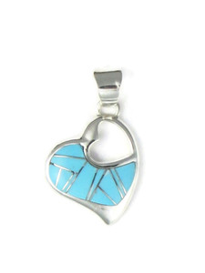 Turquoise Inlay Heart Pendant (PD4273)
