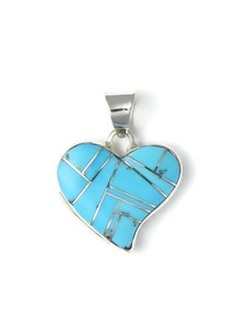 Turquoise Inlay Heart Pendant Reversible by Calvin Begay (PD4274)
