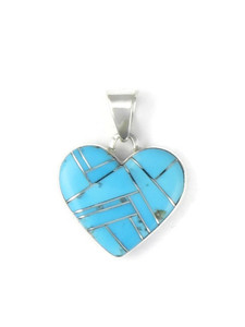 Turquoise Inlay Heart Pendant by Calvin Begay (PD4276)