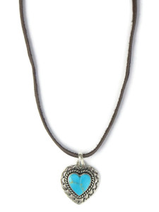 Turquoise Heart Pendant Necklace by Philbert Secatero (PD4276)