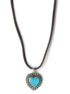 Turquoise Heart Pendant Necklace by Philbert Secatero (PD4277)