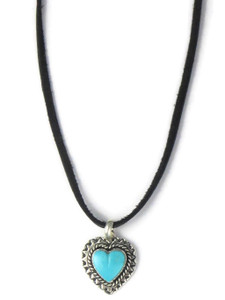 Turquoise Heart Pendant Necklace by Philbert Secatero (PD4278)