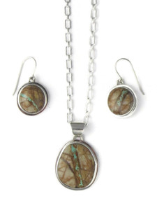 Royston Boulder Turquoise Pendant & Earring Set by Lyle Piaso (PD4280)