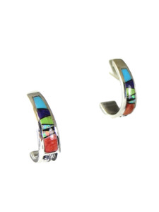 Multi Gemstone Inlay Hoop Earrings (ER5655)