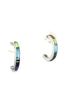 Multi Gemstone Inlay Hoop Earrings (ER5656)