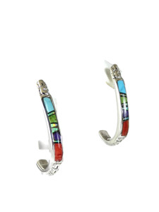 Multi Gemstone Inlay Hoop Earrings (ER5657)