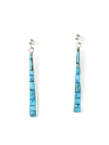 Scultped Turquoise Inlay Earrings by Rick Julius (ER5663)