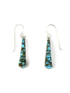 Sculpted Inlay Turquoise Earrings by Julius Burbank (ER5665)