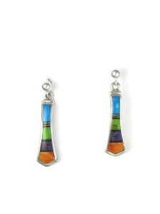 Multi Gemstone Inlay Earrings by Julius Burbank (ER5667)