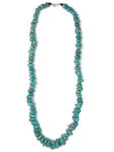 Fox Turquoise Nugget Bead Necklace (NK4867)