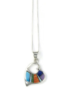 Multi Gemstone Inlay Open Heart Pendant (PD4287)