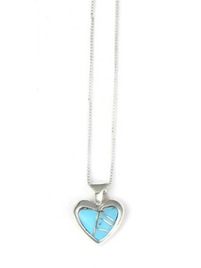 Turquoise Inlay Heart Pendant by Ervin Hoskie (PD4291)