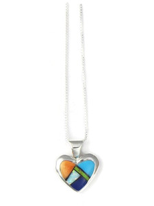 Multi Gemstone Inlay Heart Pendant by Ervin Hoskie (PD4292)