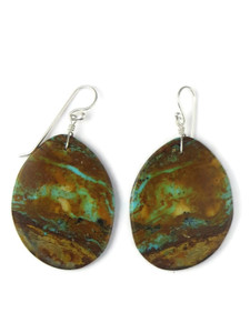 Turquoise Slab Earrings by Ronald Chavez (ER5709)