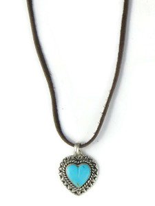 Turquoise Heart Leather Pendant Necklace (NK4859)