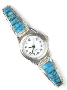 Kingman Turquoise Inlay Watch by Arlene Yazzie (WTH774)