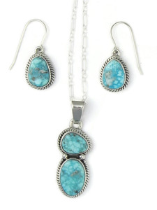 White Water Turquoise Pendant Set by Margaret Platero (PD4303)
