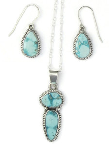 White Water Turquoise Pendant & Earring Set by Margaret Platero (PD4304)