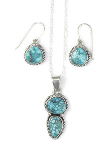White Water Turquoise Pendant & Earring Set by Margaret Platero (PD4305)