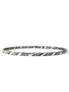 Silver Twist Bangle Bracelet by Elaine Tahe (BR6370)
