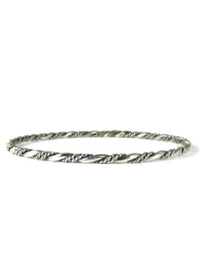 Silver Twist Bangle Bracelet by Elaine Tahe (BR6371)