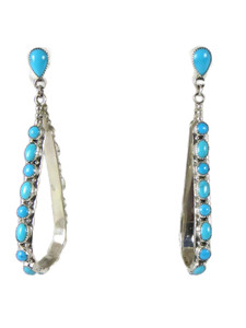 "Sleeping Beauty Turquoise Loop Earrings 3"" (ER5722)"