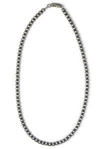"""5mm Antiqued Silver Bead Necklace 18"""" (NK0518w)"""