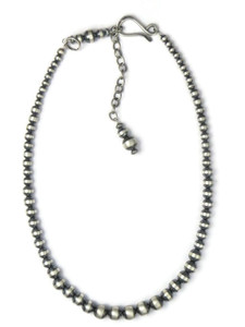 Graduated Antiqued Silver Bead Necklace with Extension Chain (NK555)