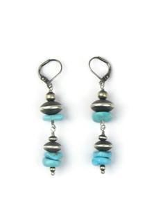 Silver Bead& Turquoise Dangle Earrings (ER5724)