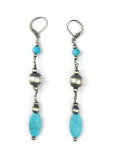 "Silver Bead Turquoise Dangle Earrings 3 1/2"" (ER5725)"