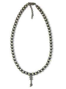 Double Bar Cross Silver Bead Necklace (NK4281)