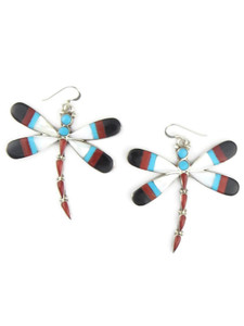 Multi Gemstone Inlay Dragonfly Dangle Earrings (ER5732)