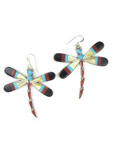Multi Gemstone Inlay Dragonfly Dangle Earrings (ER5733)