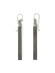 "Silver Channel Earrings 2 1/2"" by Francis Jones (ER5738)"