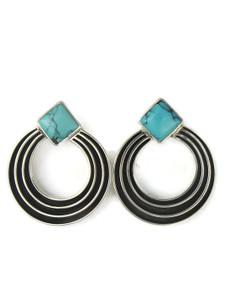 Turquoise Silver Channel Earrings by Francis Jones (ER5746)