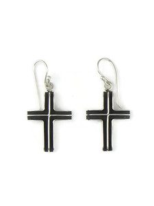 Silver Channel Cross Earrings (ER5748)