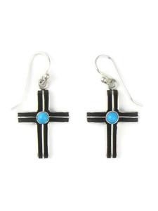 Turquoise Silver Channel Cross Earrings (ER5749)