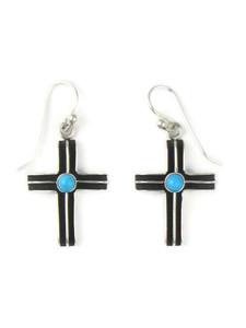 Turquoise Silver Channel Cross Earrings (ER5749)