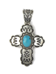 Blue Ridge Turquoise Cross Pendant by Elgin Tom (PD4317)