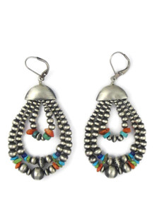 Multi Gemstone Silver Bead Triple Loop Earrings (ER5652)